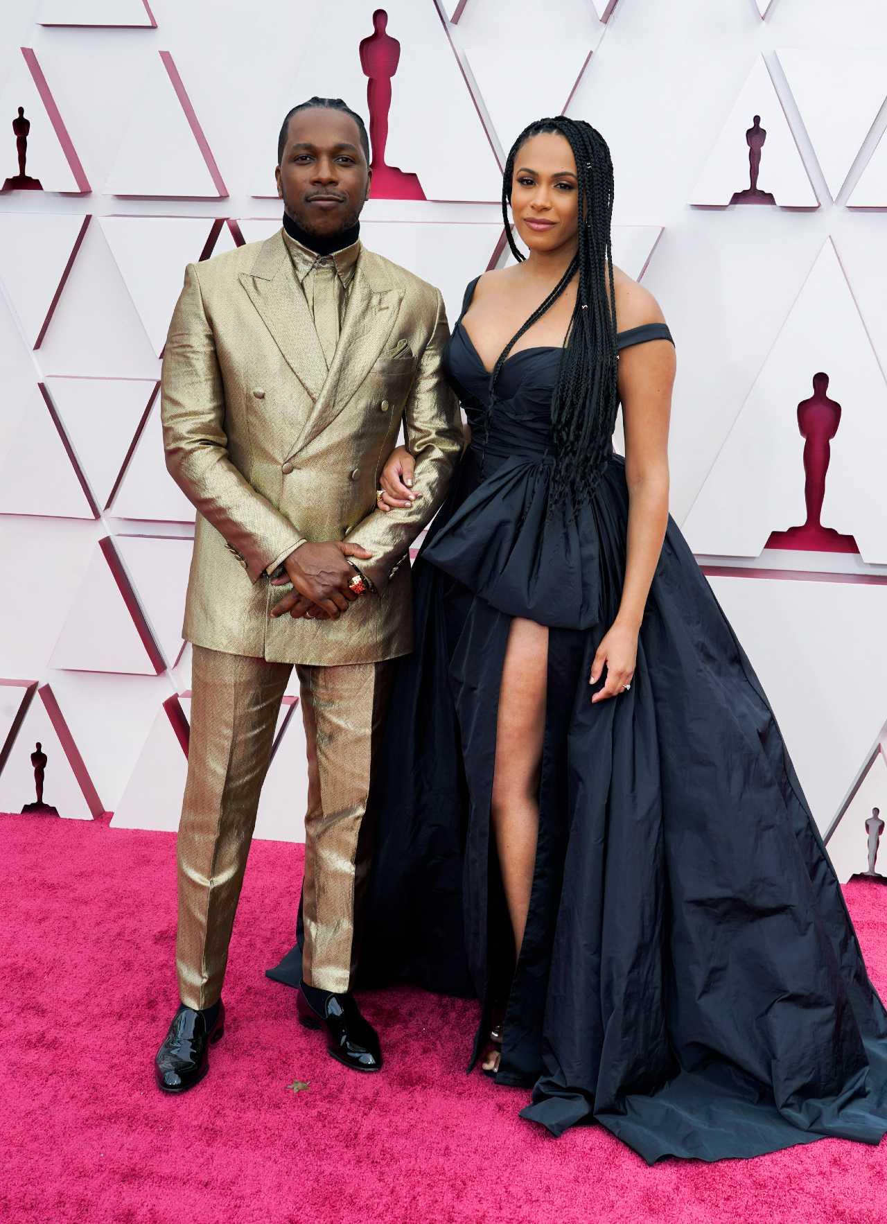 Leslie Odom Jr y Nicolette Robinson alfombra roja Oscars 2012