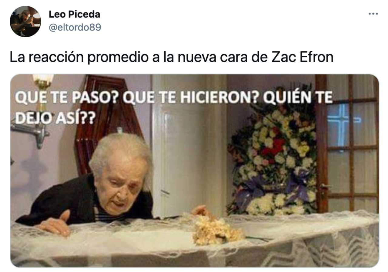 Meme de Zac Efron en su ataud