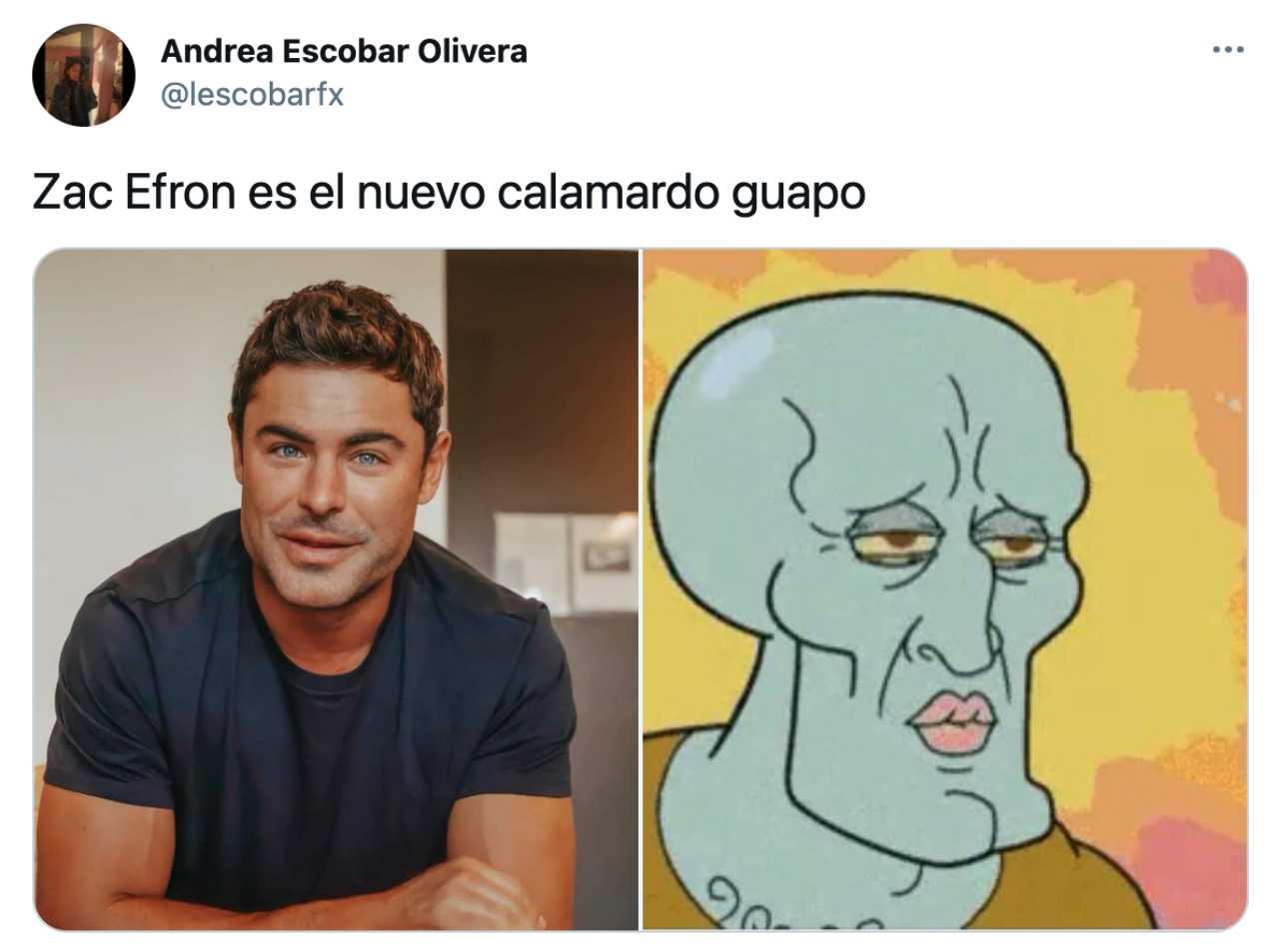 Meme de Zac Efron como Calamardo