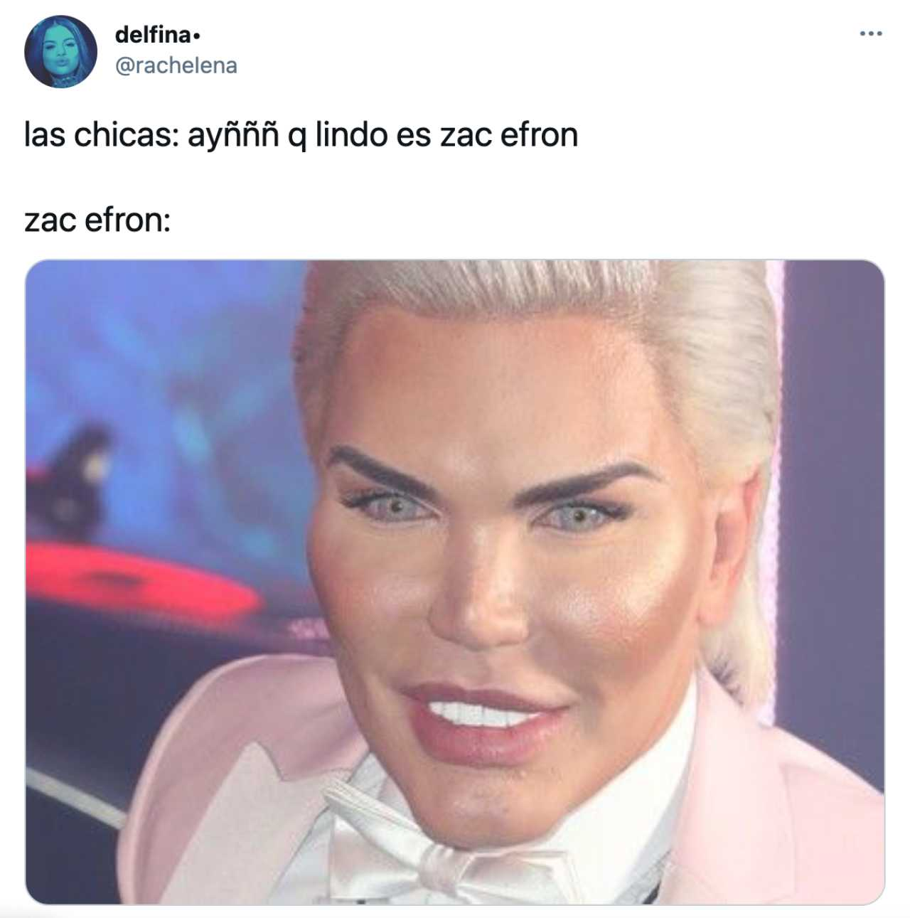 Meme de Zac Efron con el Ken Humano