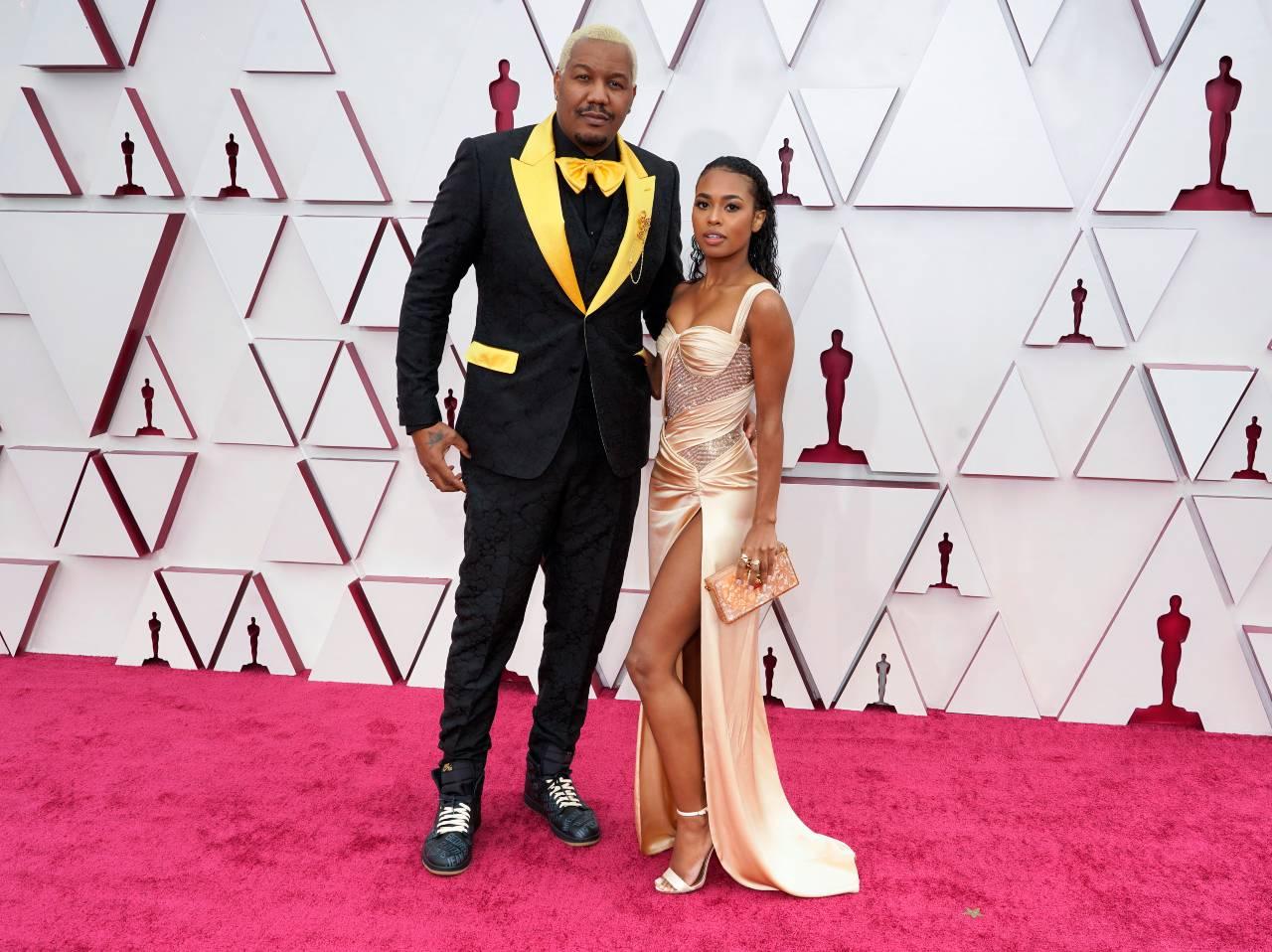 Travon Free y Zaria Simone red carpet Oscars 2021
