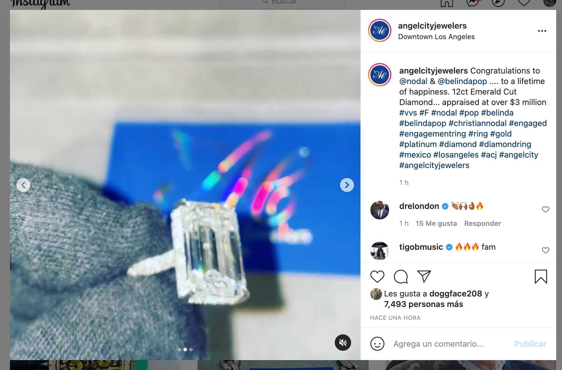 El anillo de compromiso de Belinda de 3 millones de dólares
