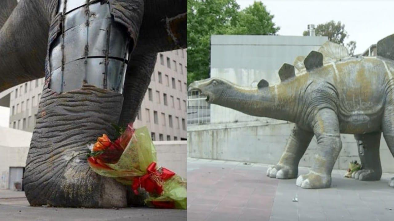 Hombre falleció atrapado en una estatua de dinosaurio