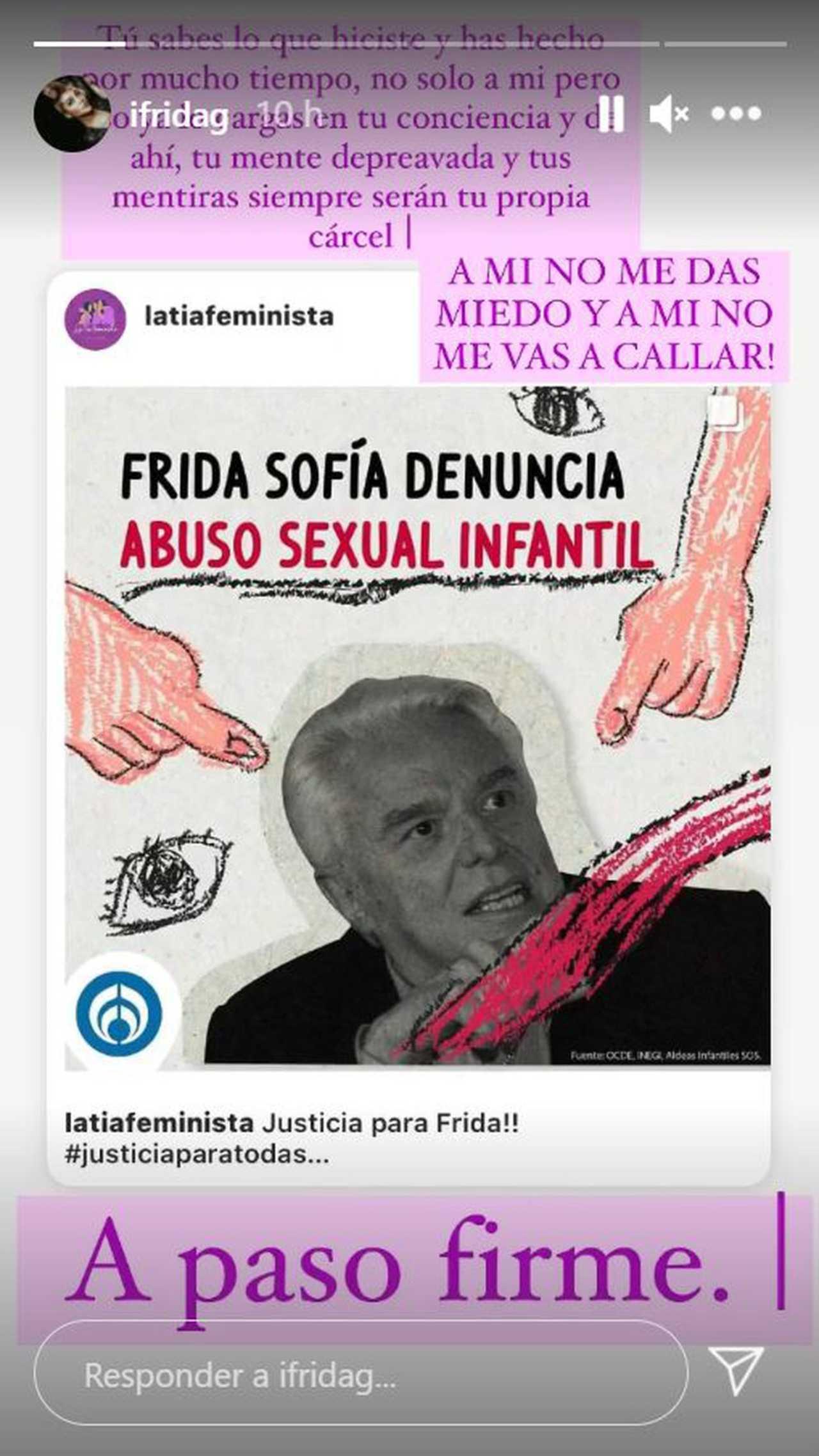 Frida Sofía mensaje Enrique Guzmán no me das miedo