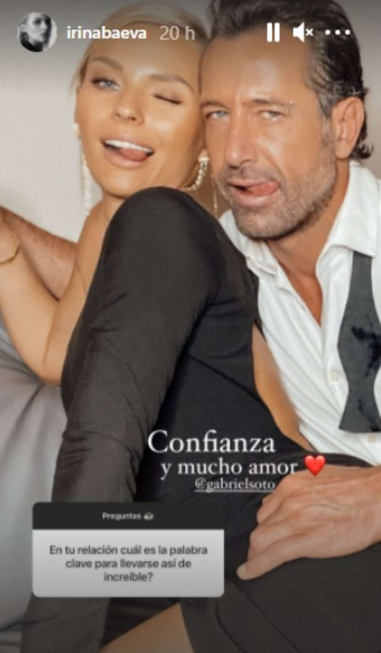 Irina Baeva abranzada a Gabriel Soto