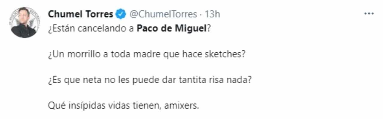 Chumel Torres defiende Paco de Miguel
