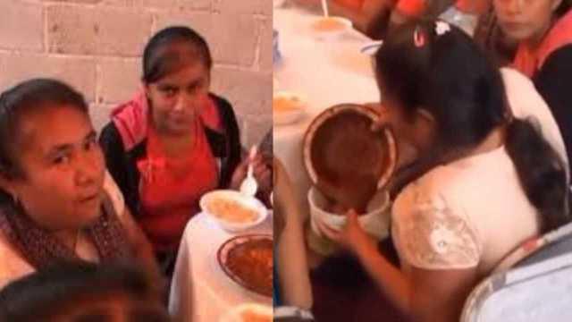 Mujer se lleva el mole de una fiesta y se vuelve viral