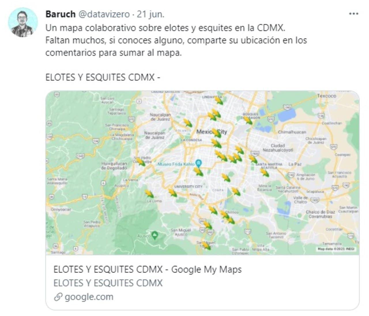 Baruch crea mapa elotes esquites CDMX