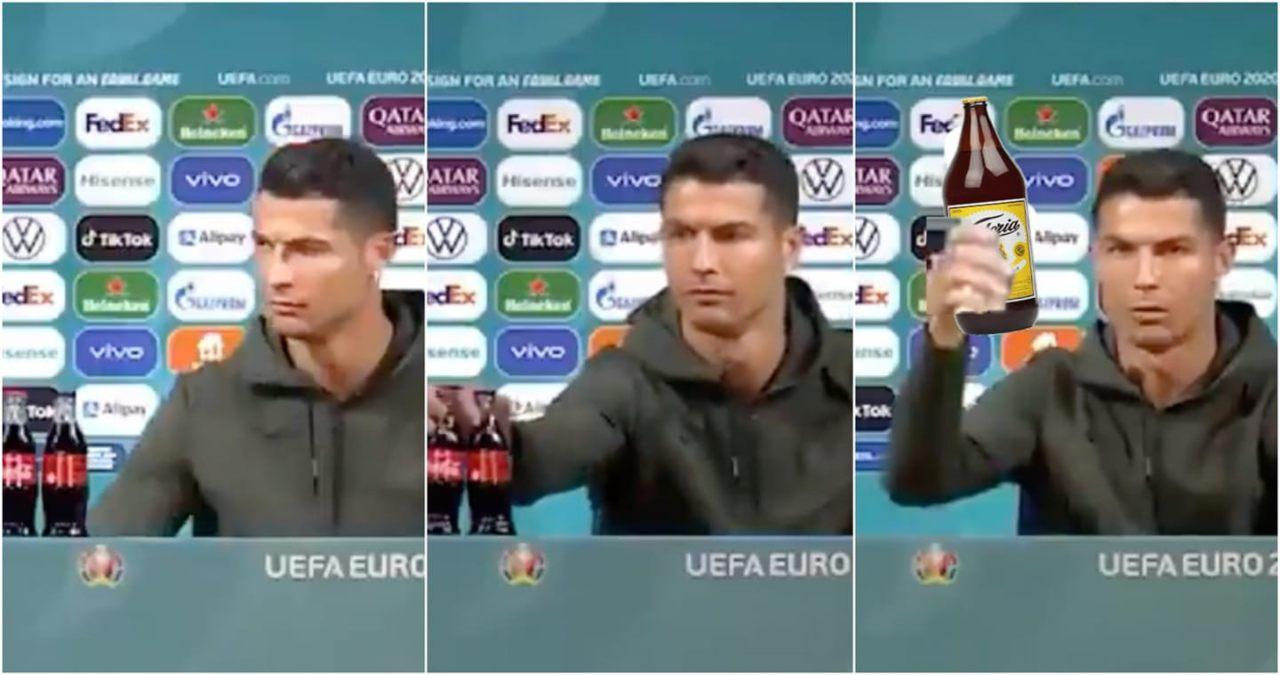 Cristiano Ronaldo quita Coca Cola caguama