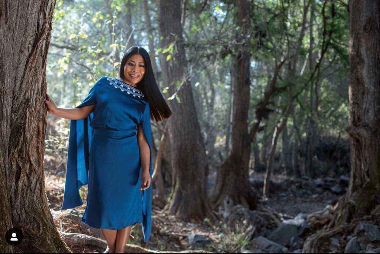 Yalitza Aparicio con vestido de seda