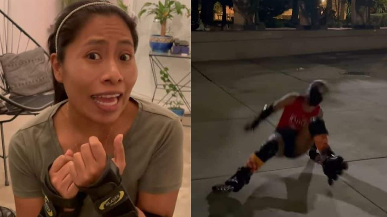 Yalitza Aparicio se estrena como skater y sufre tremenda caída en patines