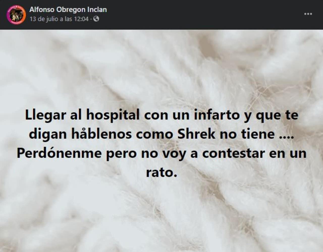 Actor de doblaje Alfonso Obregón Inclán hospitalizado por infarto
