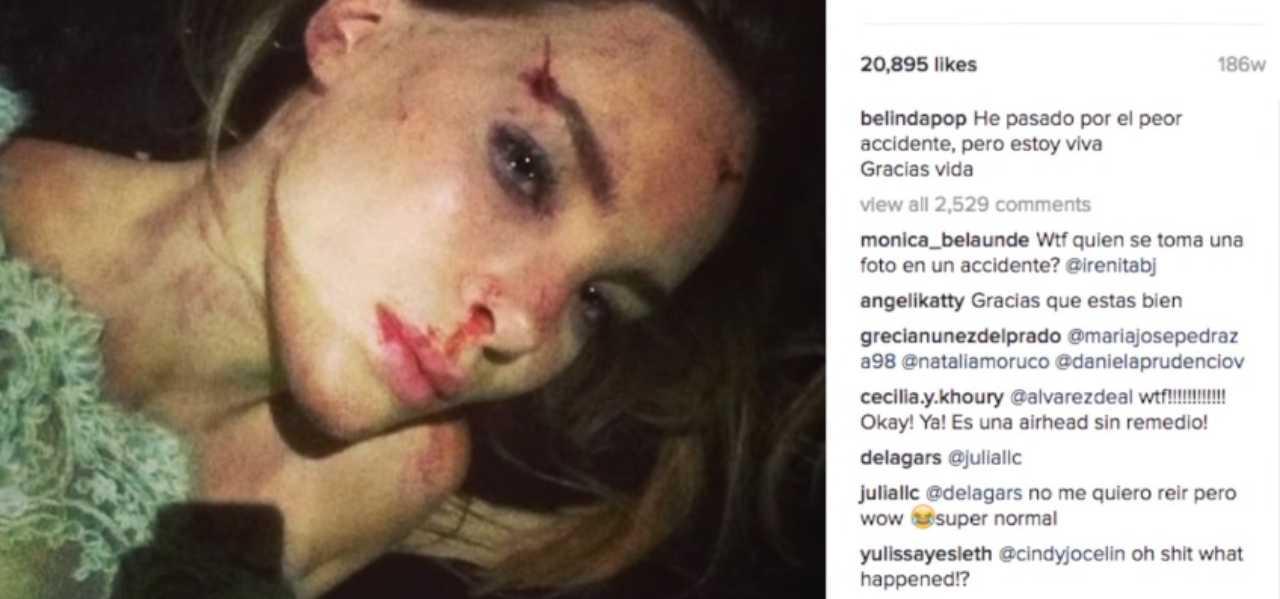 Belinda golpeada y la historia de sus fotos