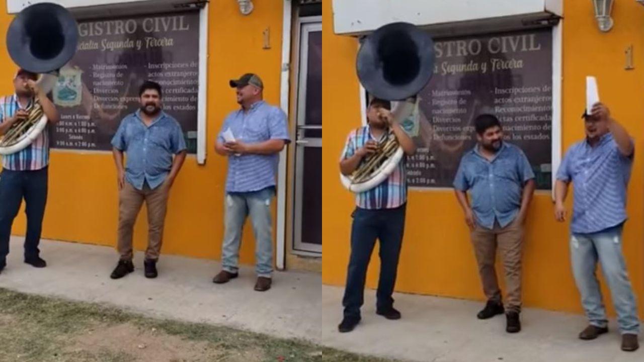 Hombre celebra su divorcio con música de banda tras salir del registro civil