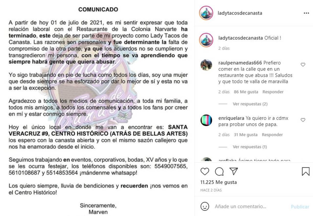 Lady Tacos de Canasta quería 200 mil al mes y dejará de vender en restaurante