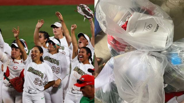 Equipo softbol tira uniformes a basura