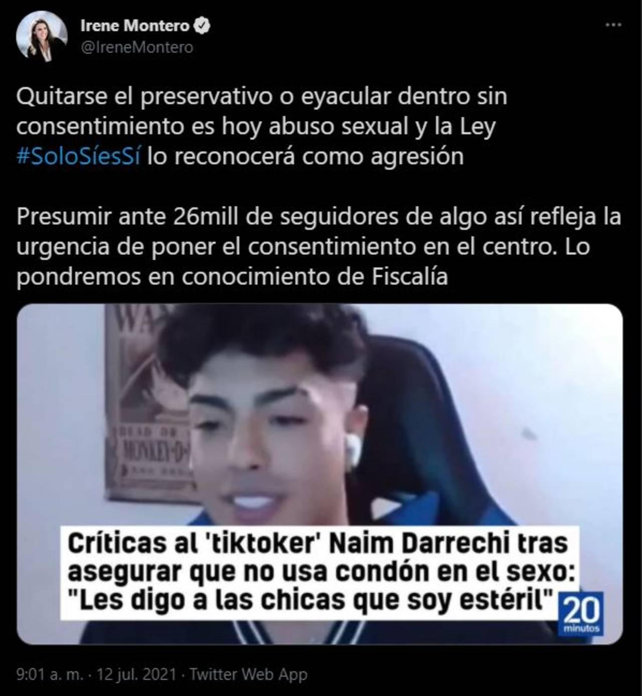 Naim Darrechi tiktoker admite quitarse el condón sin consentimiento