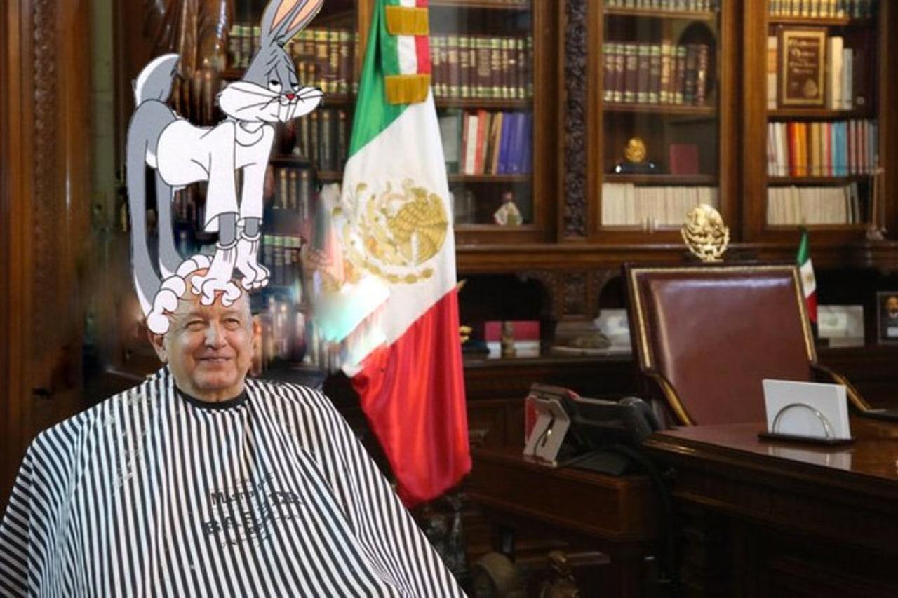 Meme peluquero AMLO y Bugs Bunny