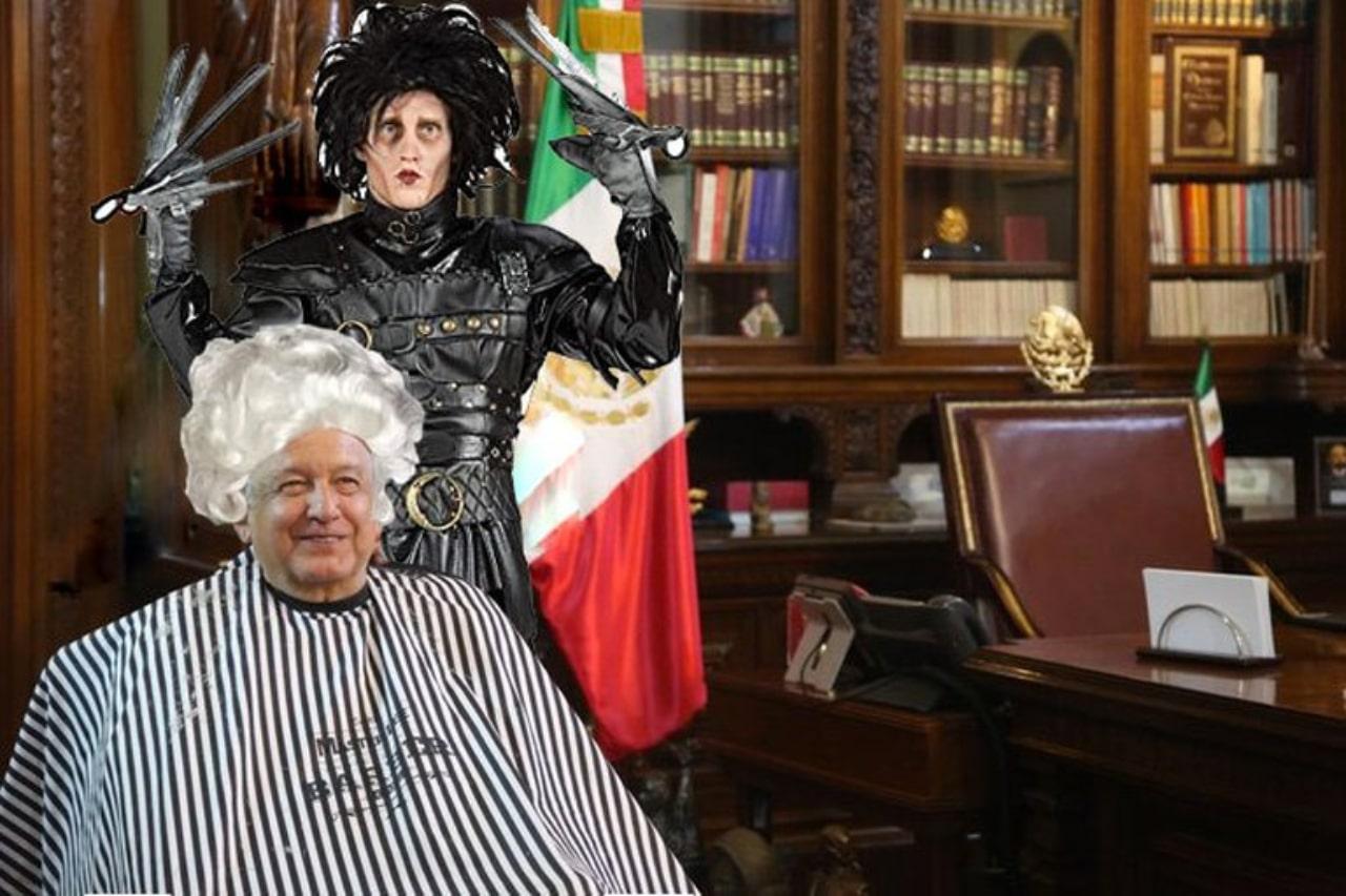 Meme peluquero AMLO y el hombre manos de tijera