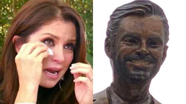 Alessandra Rosaldo se quiebra por acto vandálico contra estatua de Eugenio Derbez
