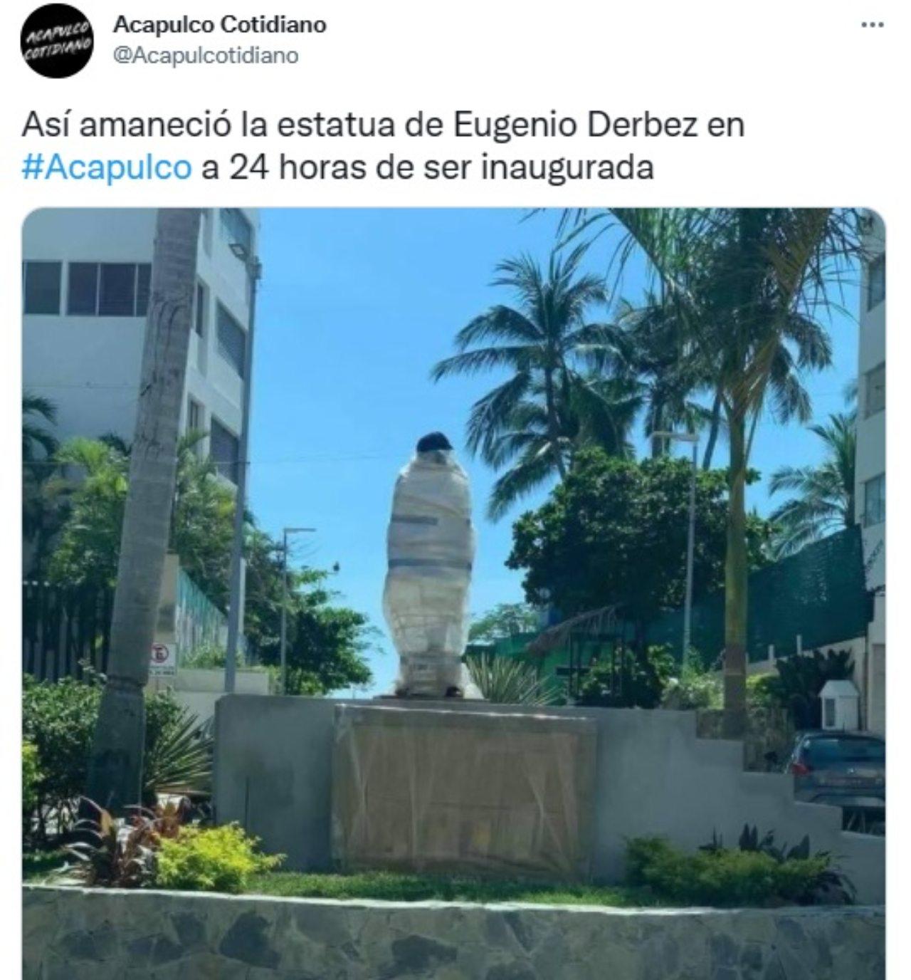 Tapan estatua de Eugenio Derbez Acapulco