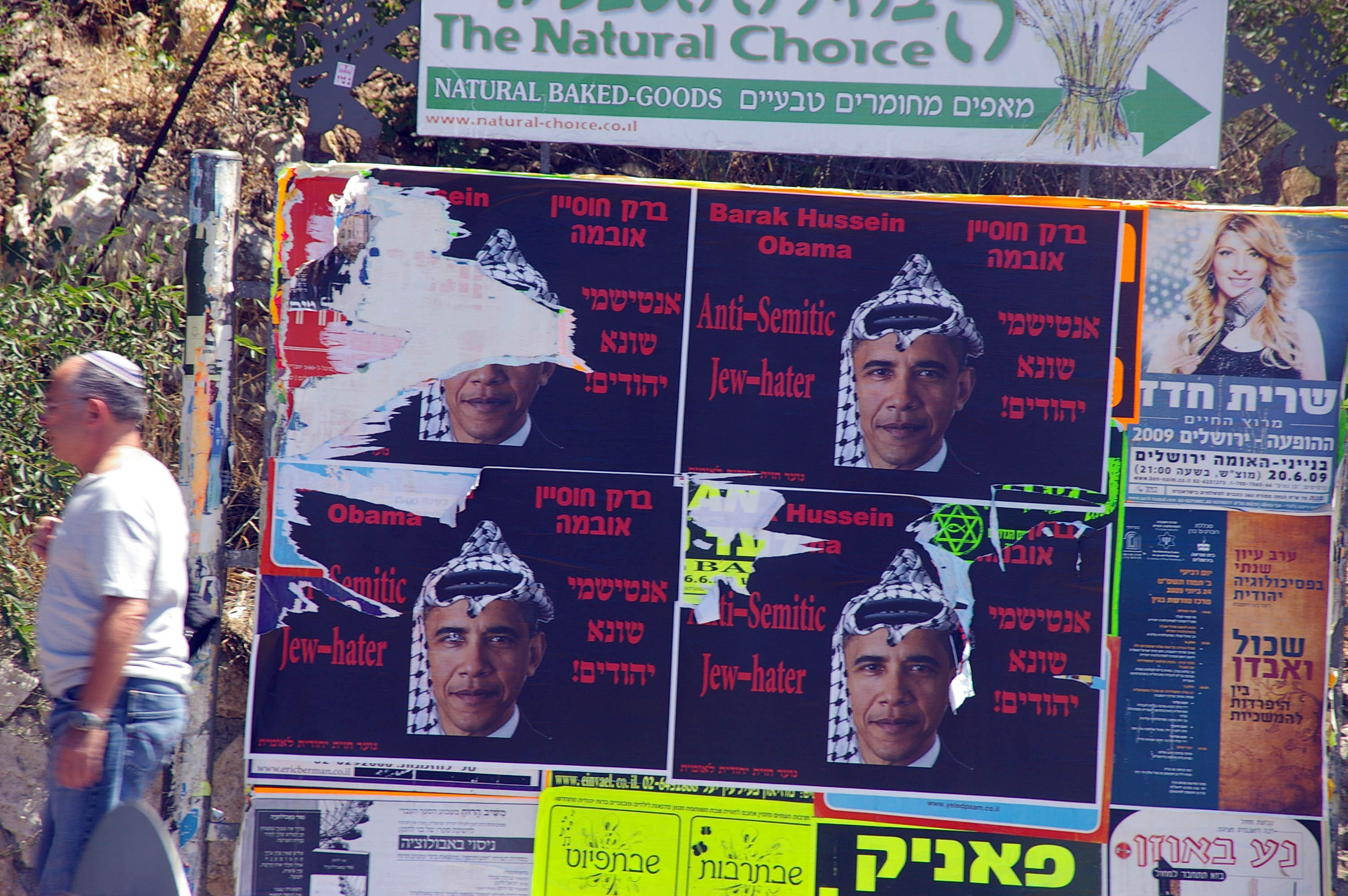 Carteles contra Obama en las calles de Jerusalem