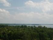 Blick vom Wasserturm über die Seenlandschaft in Lötzen (Giżycko)