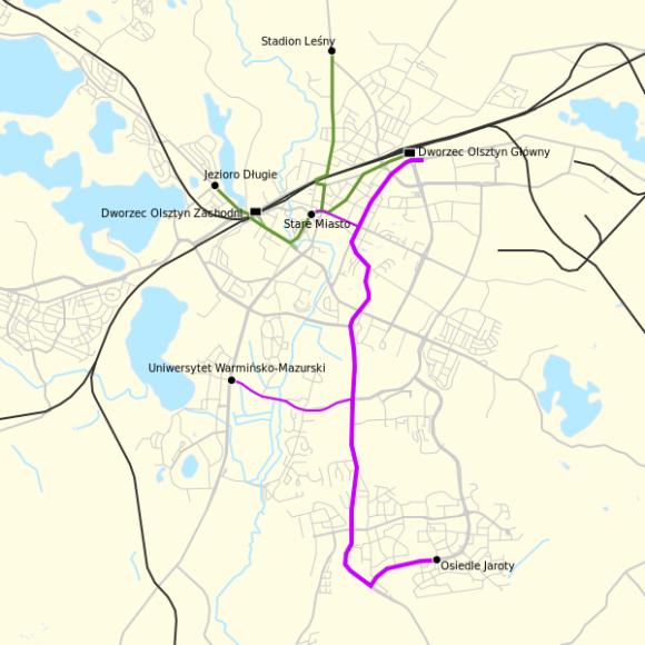 Straßenbahnlinien in Olsztyn (Allenstein)