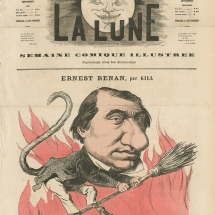 Caricature d'Ernest Renan par Gill (1867)