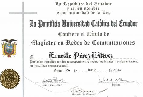 Título de Magister en redes de comunicaciones de la PUCE