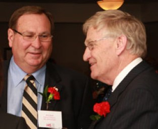 Bill Ebel of the MS Society's Oxford Chapter and Ernie Hardeman, MPP, Oxford chat at the MS Awareness Month Reception