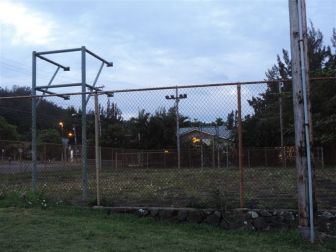 Before the work began on the basketball court.