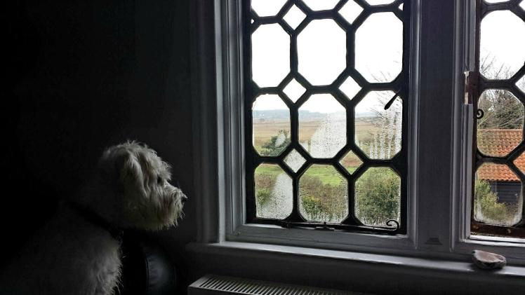 Ernie looks out of the bedroom window at The Ship at Dunwich