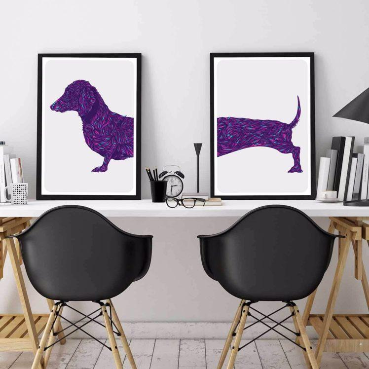 Fifi + Pascale dachshund wall art