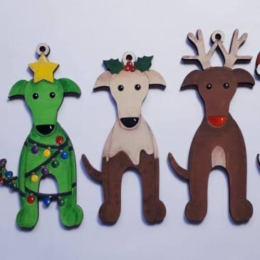 Greyhound Christmas decorations from Milo & Mimi
