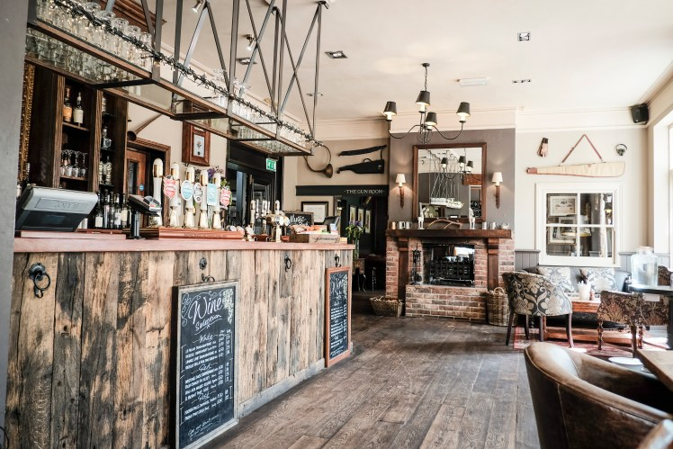 Rustic bar area of The White Buck, Burley