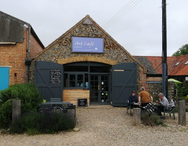 Exterior of the fully-vegetarian Art Cafe in Glandford, Norfolk