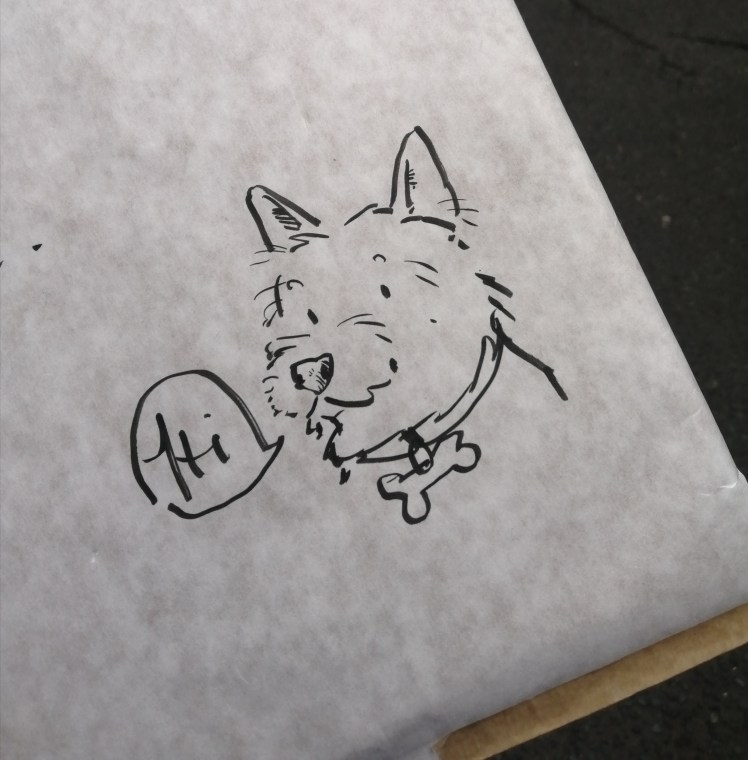 Sketch of dog saying hi, by Iain Welch