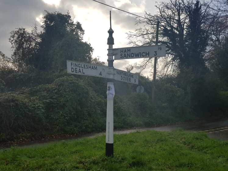 The famous signpost for Ham and Sandwich in Kent