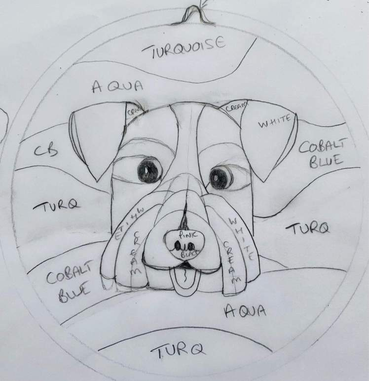 Sketch of Ernie's stained glass portrait