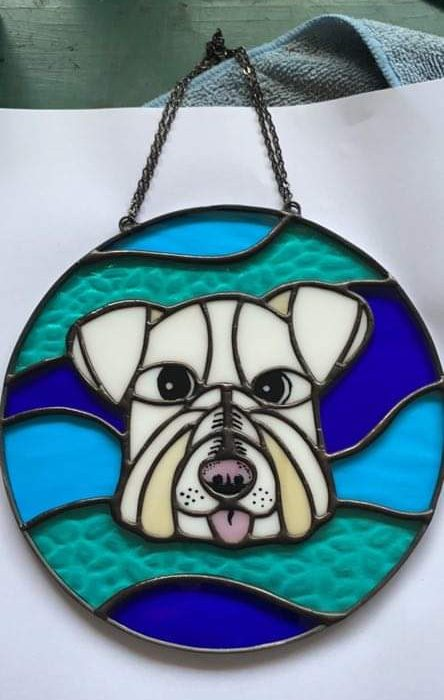 The finished version of Ernie's stained glass portrait