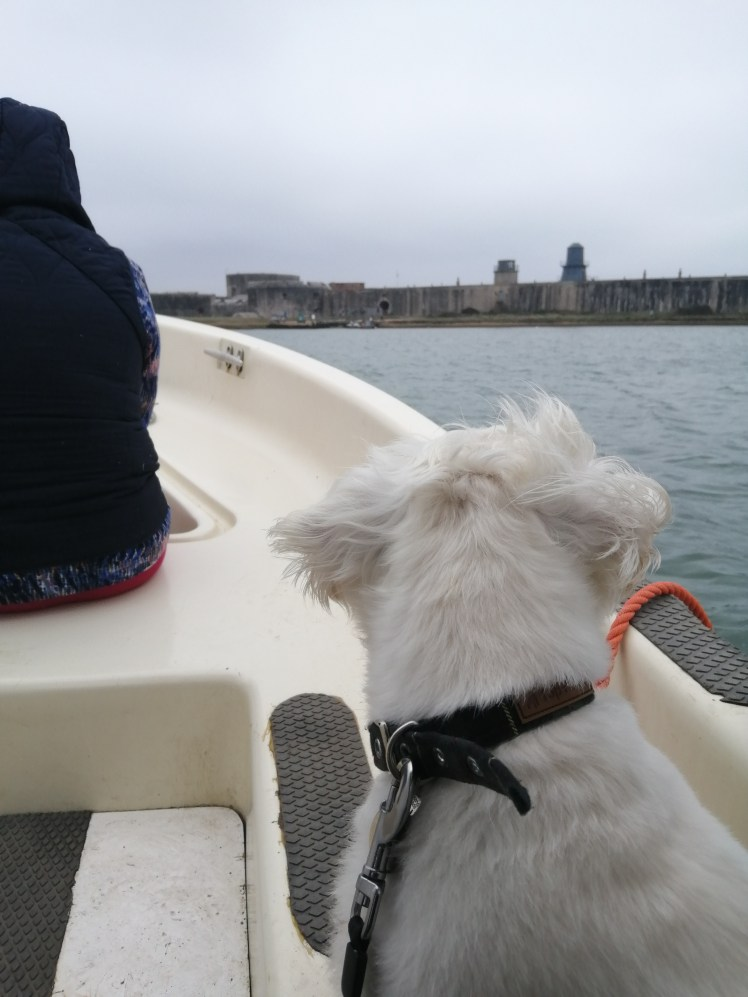 Ernie on the ferry to Hurst Castle