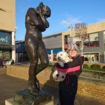Ernie and Jenny by Auguste Rodin's Eve statue in Harlow