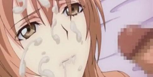 強気お嬢様に顔射してイカせちゃうエロアニメ画像