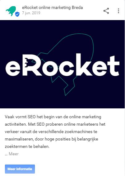 Post van Google Mijn Bedrijf van eRocket
