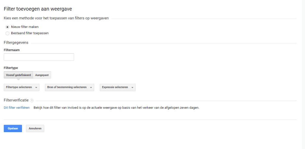 Google Analytics filter instellen