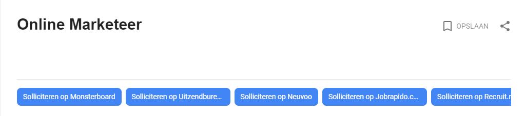 Vacaturefilter van Google For Jobs