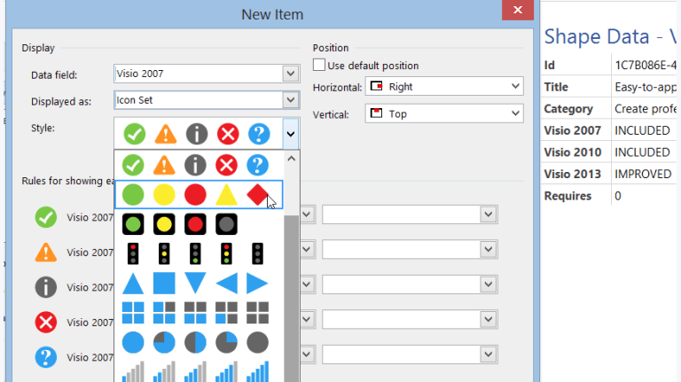 Creare un proprio set di icone da utilizzare in Visio in modo automatico Icon set Microsoft Visio 2016