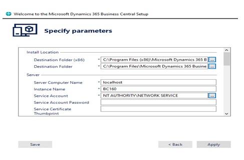d365 parameters