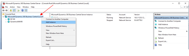 Add instance in Business Central